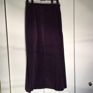 Midi length vintage micro suede skirt